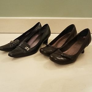 Two pairs of shoes, black and brown
